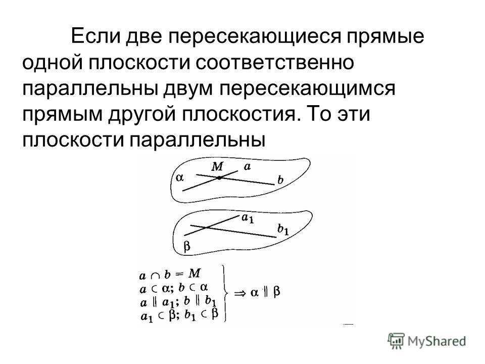Если две пересекающиеся прямые одной плоскости соответственно параллельны двум пересекающимся прямым другой плоскостия. То эти плоскости параллельны
