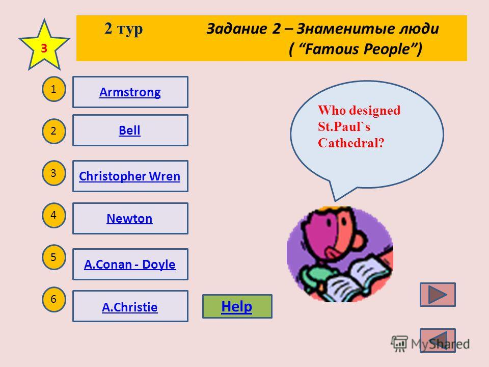 2 тур Задание 2 – Знаменитые люди ( Famous People) 1 2 5 4 3 6 He was a spaceman and the first person to walk on the Moon. 2 Help Armstrong Bell Christopher Wren Newton A.Conan - Doyle A.Christie