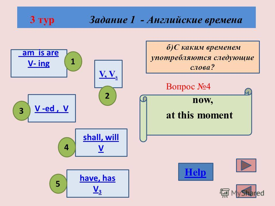 3 тур Задание 1 - Английские временa Вопрос 3 Show the Present Simple Tense, please! V, V s am is are V- ingam is are V- ing V -ed, V have, has V 3 shall, will V 1 2 5 3 4 Help а)Формулы глаголов