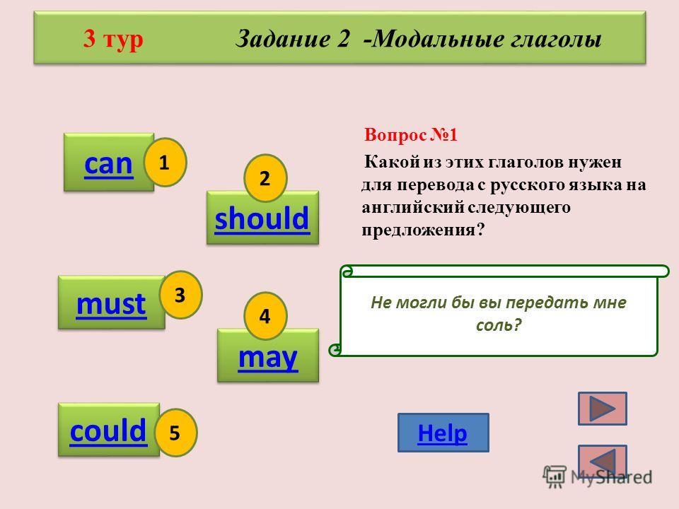 б)С каким временем употребляются следующие слова? tomorrow, next year V, V s am is are V- ingam is are V- ing V -ed, V have, has V 3 shall, will V 1 2 3 4 5 Help 3 тур Задание 1 - Английские временa Вопрос 8