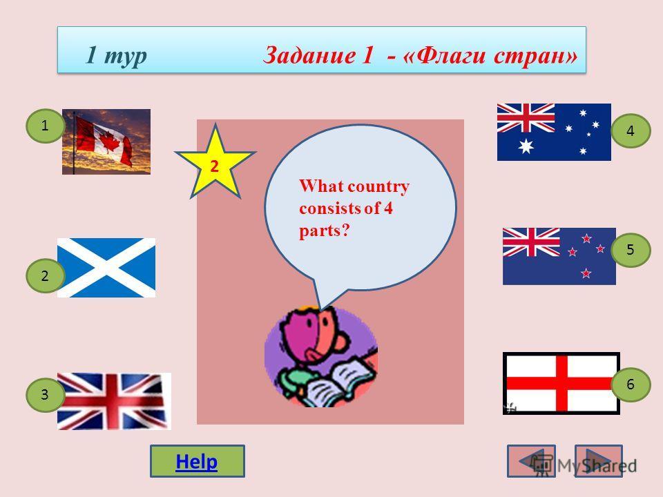 1 1 1 тур Задание 1 - «Флаги стран» 4 3 1 5 2 6 Which is the flag of Australia? Help 1