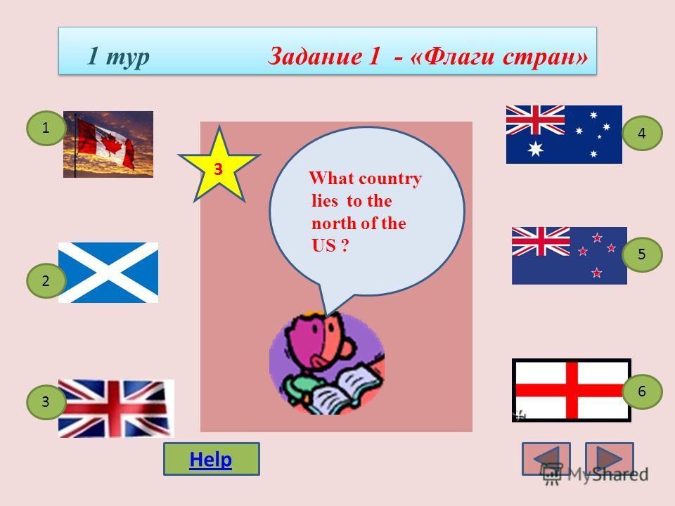 1 тур Задание 1 - «Флаги стран» 4 3 1 5 2 6 What country consists of 4 parts? 2 Help