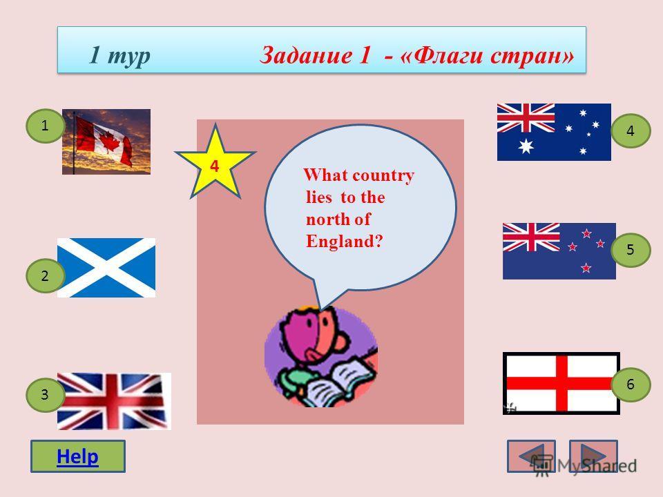 1 тур Задание 1 - «Флаги стран» 4 3 1 5 2 6 What country lies to the north of the US ? 3 Help