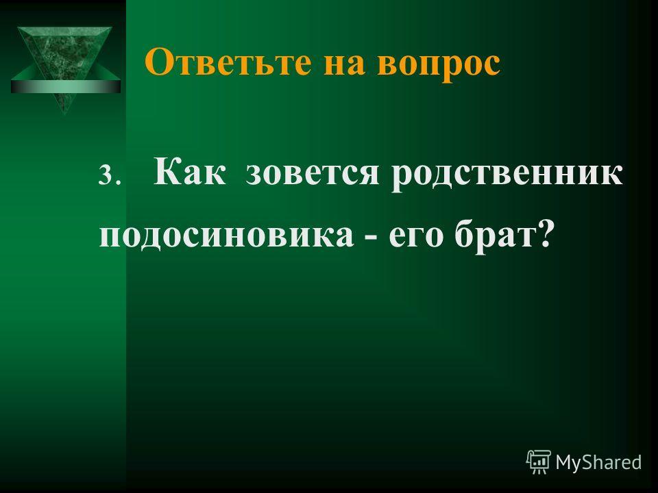 Ответьте на вопрос 3. Как зовется родственник подосиновика - его брат?