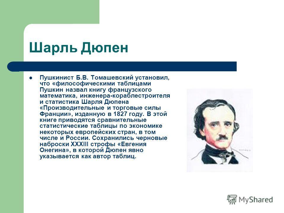 Шарль Дюпен Пушкинист Б.В. Томашевский установил, что «философическими таблицами Пушкин назвал книгу французского математика, инженера-кораблестроителя и статистика Шарля Дюпена «Производительные и торговые силы Франции», изданную в 1827 году. В этой