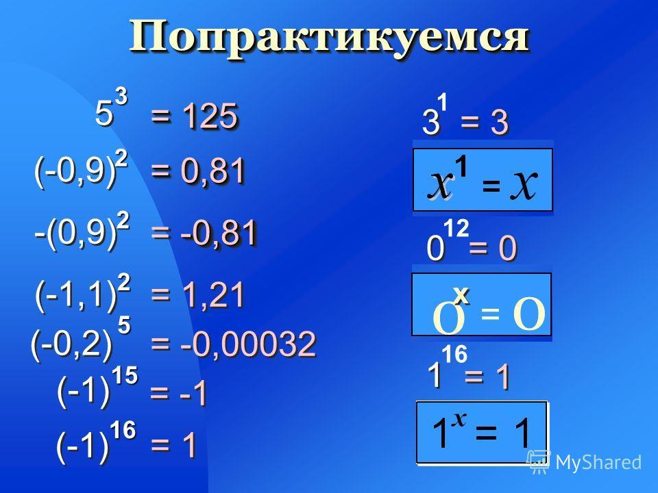 9 9 3 3 «Три в девятой степени» 55 4 4 77 2 2 1010 3 3 «Десять в третьей степени» Прочитайте степень Прочитайте степень «Пять в четвертой степени» « Семь во второй степени»