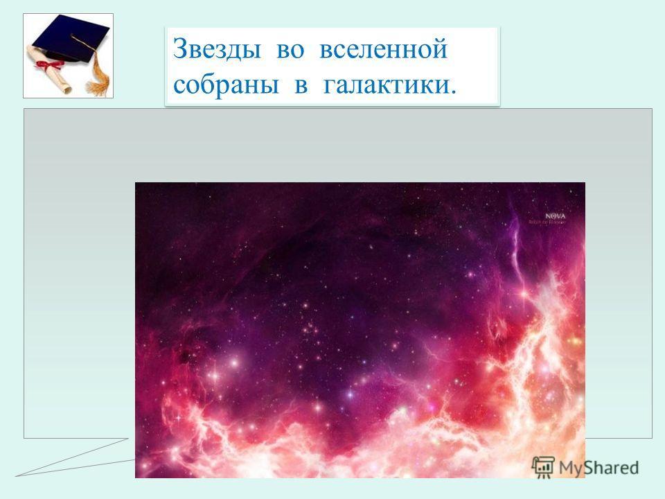 Звезды во вселенной собраны в галактики.