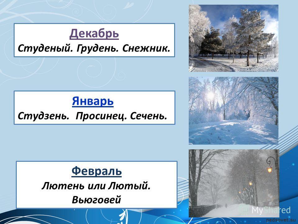 Году конец, зиме начало! Зиме середина, году начало! Последний зимний месяц жаль, Короткий самый он –... Декабрь Студеный. Грудень. Снежник. Январь Студзень. Просинец. Сечень. Февраль Лютень или Лютый. Вьюговей