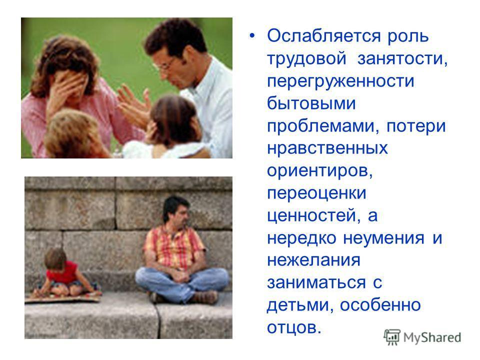 Ослабляется роль трудовой занятости, перегруженности бытовыми проблемами, потери нравственных ориентиров, переоценки ценностей, а нередко неумения и нежелания заниматься с детьми, особенно отцов.
