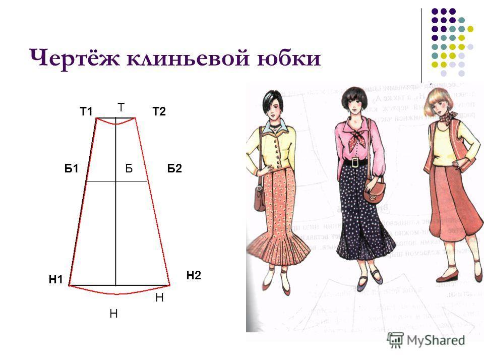 Чертёж клиньевой юбки Т1 Т Т2 Н Н1 Н Н2 Б2Б1Б