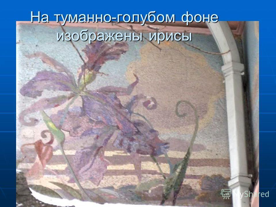 На туманно-голубом фоне изображены ирисы