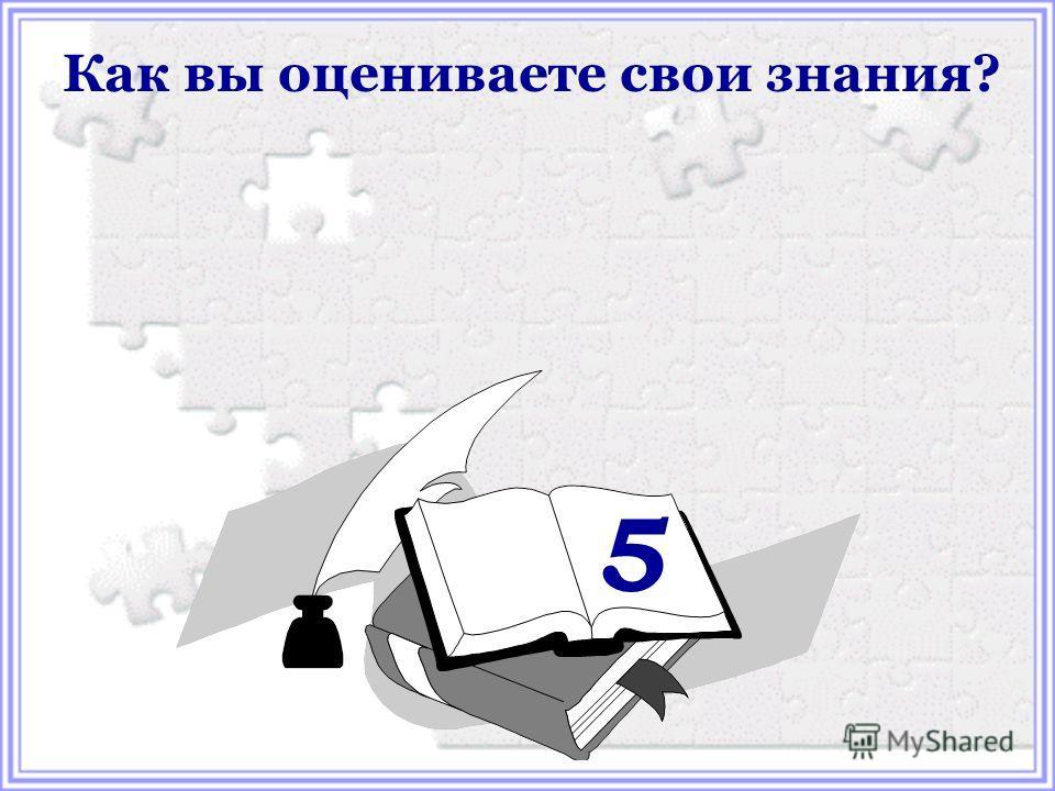 Как вы оцениваете свои знания? 5
