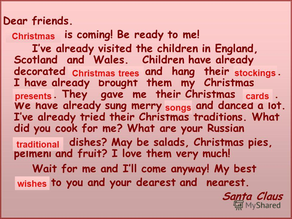 Dear friends. … is coming! Be ready to me! Ive already visited the children in England, Scotland and Wales. Children have already decorated … and hang their …. I have already brought them my Christmas …. They gave me their Christmas …. We have alread