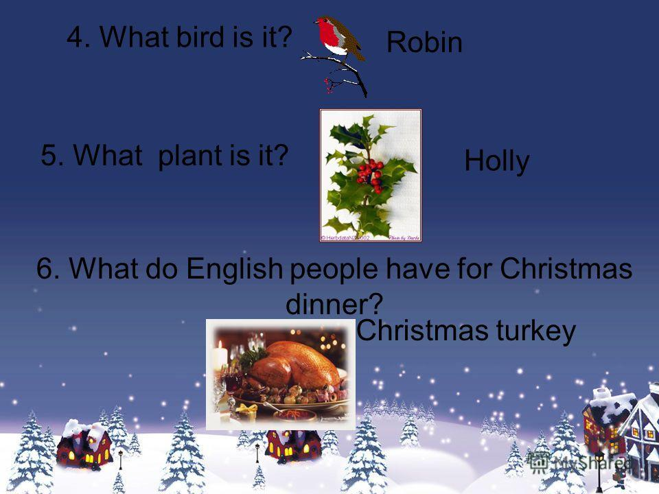 4. What bird is it? 5. What plant is it? 6. What do English people have for Christmas dinner? Robin Holly Christmas turkey