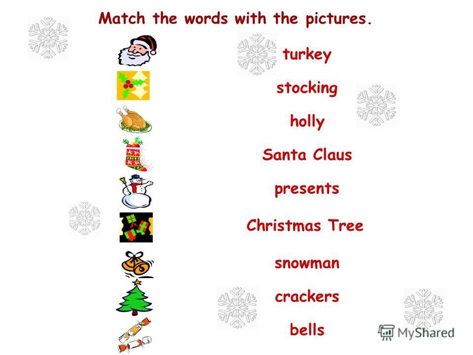 Match the words with the pictures. turkey stocking holly Santa Claus presents Christmas Tree snowman crackers bells