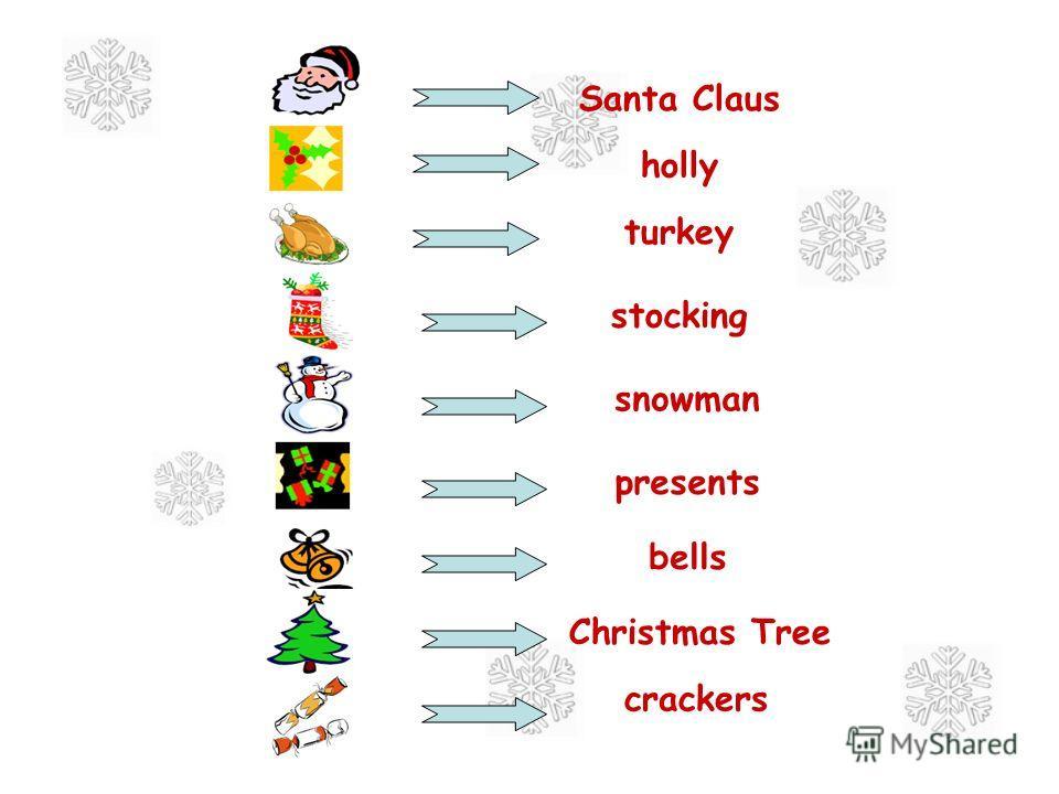 turkey stocking holly Santa Claus presents Christmas Tree snowman crackers bells