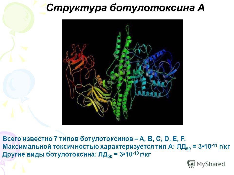 Структура ботулотоксина А Всего известно 7 типов ботулотоксинов – A, B, C, D, E, F. Максимальной токсичностью характеризуется тип А: ЛД 50 = 310 -11 г/кг Другие виды ботулотоксина: ЛД 50 = 310 -10 г/кг