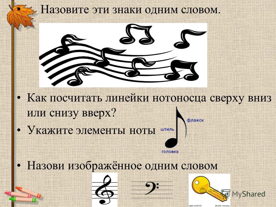 Назвать все музыкальные знаки. Что это такое? скрипичный ключ нотный стан нотоносец ?З А