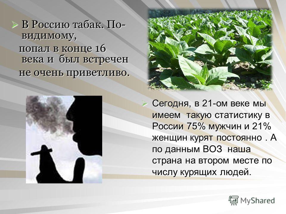 В Россию табак. По- видимому, В Россию табак. По- видимому, попал в конце 16 века и был встречен попал в конце 16 века и был встречен не очень приветливо. не очень приветливо. Сегодня, в 21-ом веке мы имеем такую статистику в России 75% мужчин и 21%