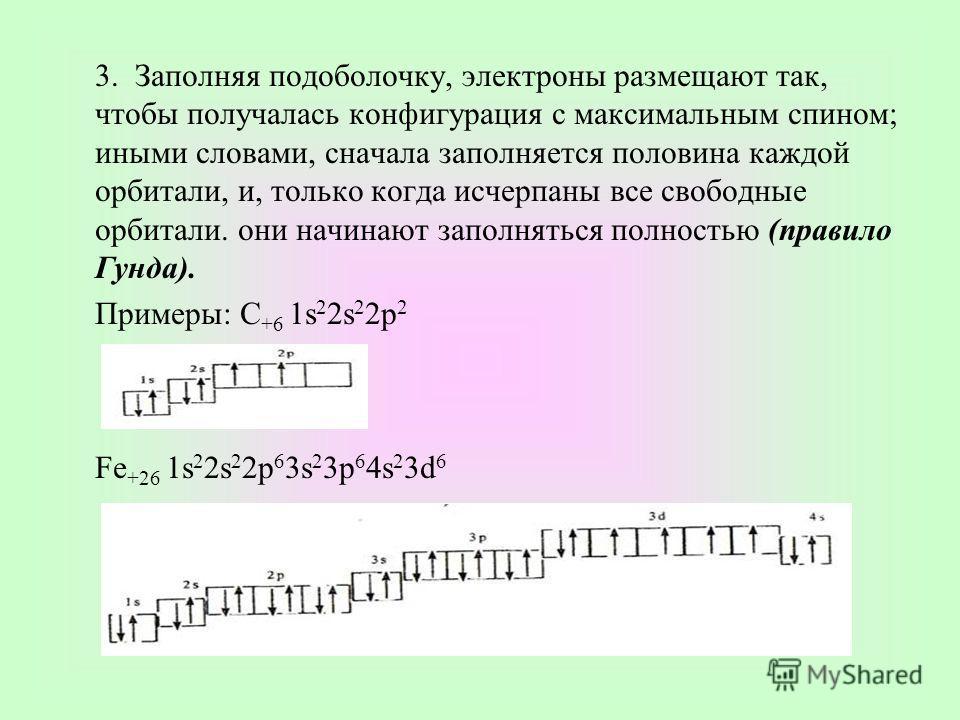 3. Заполняя подоболочку, электроны размещают так, чтобы получалась конфигурация с максимальным спином; иными словами, сначала заполняется половина каждой орбитали, и, только когда исчерпаны все свободные орбитали. они начинают заполняться полностью (