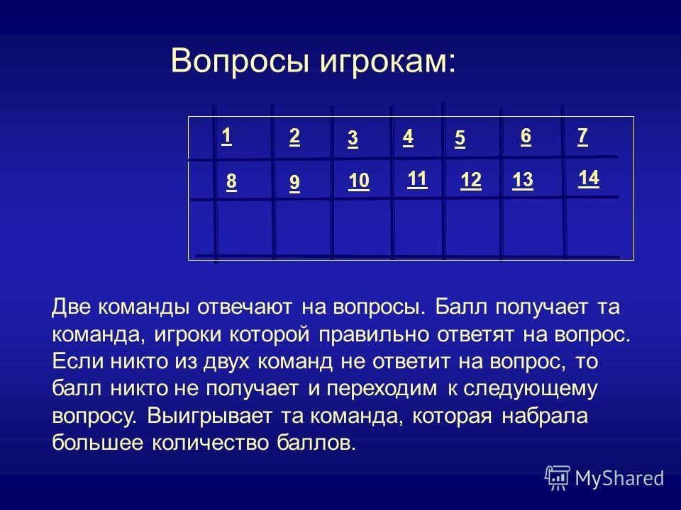 7 8 9 10 11 1213 14 1 2 3 4 5 6 Вопросы игрокам: Две команды отвечают на вопросы. Балл получает та команда, игроки которой правильно ответят на вопрос. Если никто из двух команд не ответит на вопрос, то балл никто не получает и переходим к следующему