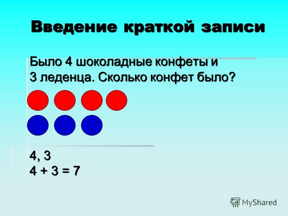 Введение краткой записи Было 4 шоколадные конфеты и 3 леденца. Сколько конфет было? 4, 3 4 + 3 = 7