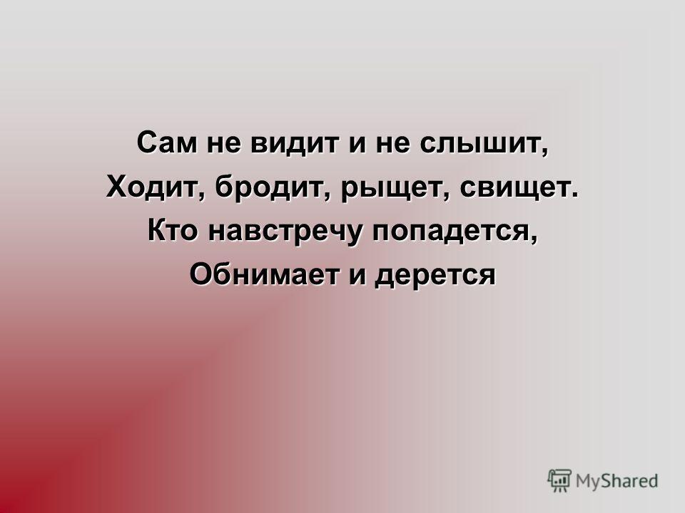 Сам не видит и не слышит, Ходит, бродит, рыщет, свищет. Кто навстречу попадется, Обнимает и дерется
