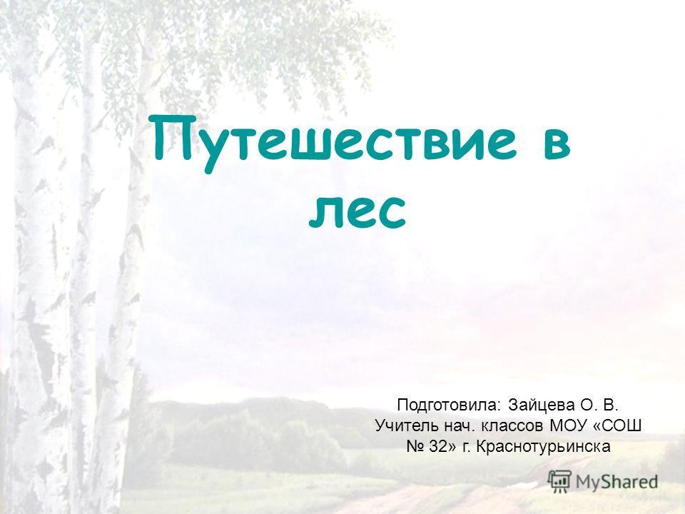 Путешествие в лес Подготовила: Зайцева О. В. Учитель нач. классов МОУ «СОШ 32» г. Краснотурьинска