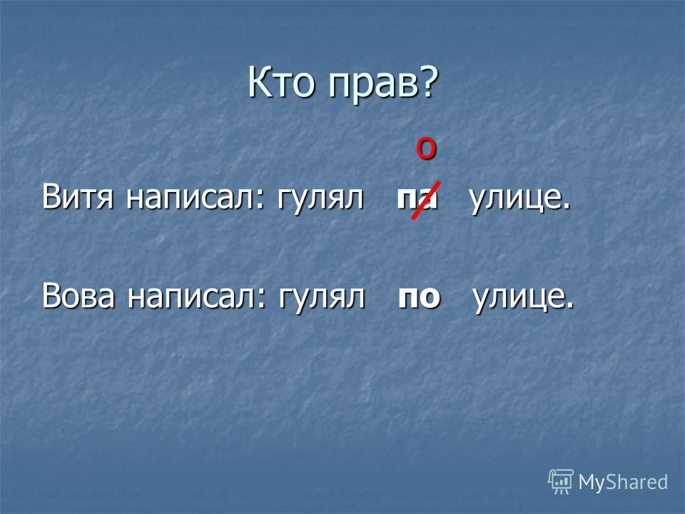 Кто прав? о Витя написал: гулял па улице. Вова написал: гулял по улице.