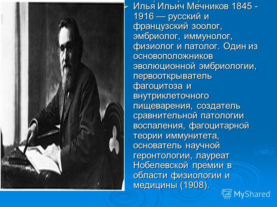 Илья́ Ильи́ч Ме́чников 1845 - 1916 русский и французский зоолог, эмбриолог, иммунолог, физиолог и патолог. Один из основоположников эволюционной эмбриологии, первооткрыватель фагоцитоза и внутриклеточного пищеварения, создатель сравнительной патологи