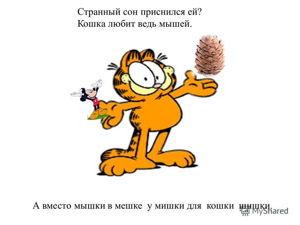 Странный сон приснился ей? Кошка любит ведь мышей. А вместо мышки в мешке у мишки для кошки шишки.