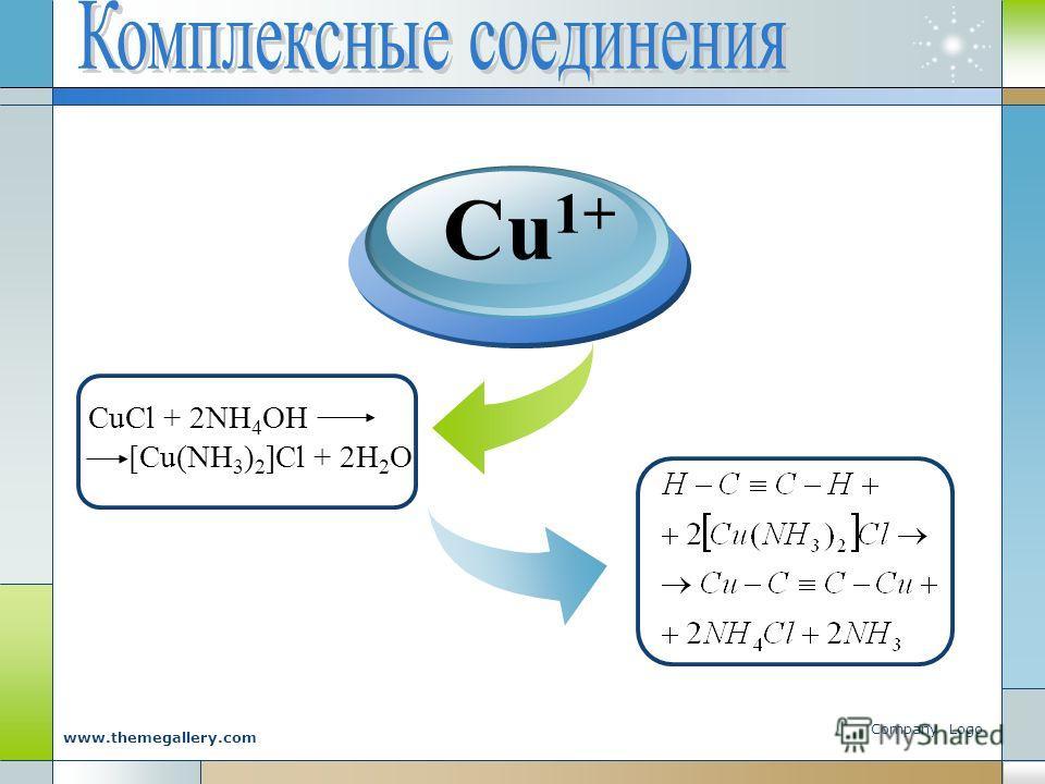 Company Logo www.themegallery.com CuCl + 2NH 4 OH [Cu(NH 3 ) 2 ]Cl + 2H 2 O Cu 1+
