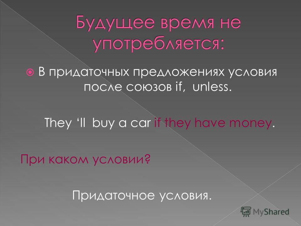 В придаточных предложениях условия после союзов if, unless. They ll buy a car if they have money. При каком условии? Придаточное условия.