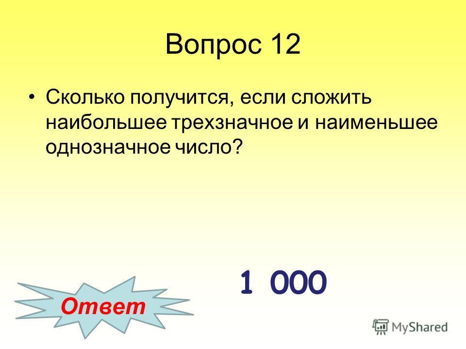 Вопрос 12 Сколько получится, если сложить наибольшее трехзначное и наименьшее однозначное число? Ответ 1 000