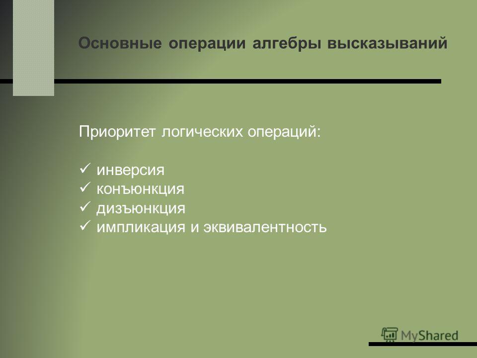Основные операции алгебры высказываний Приоритет логических операций: инверсия конъюнкция дизъюнкция импликация и эквивалентность
