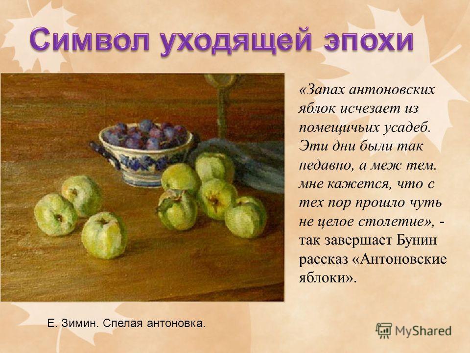 «Запах антоновских яблок исчезает из помещичьих усадеб. Эти дни были так недавно, а меж тем. мне кажется, что с тех пор прошло чуть не целое столетие», - так завершает Бунин рассказ «Антоновские яблоки». Е. Зимин. Спелая антоновка.