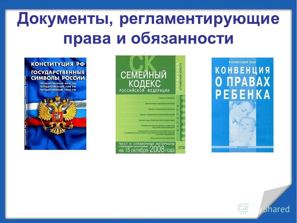 Документы, регламентирующие права и обязанности