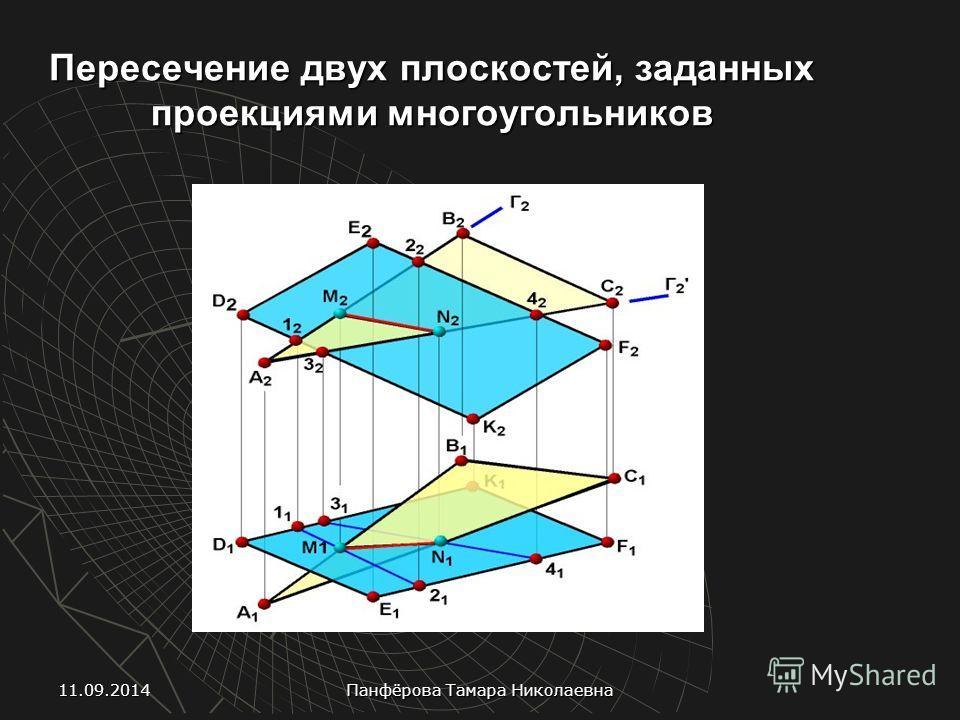 Пересечение двух плоскостей, заданных проекциями многоугольников 11.09.2014 Панфёрова Тамара Николаевна