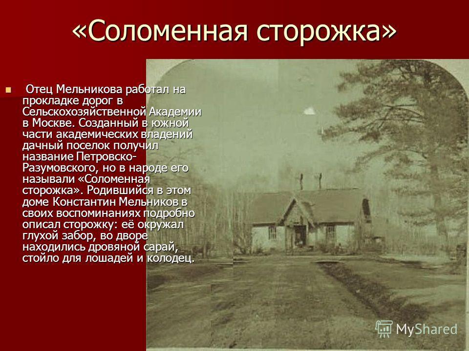 Отец Мельникова работал на прокладке дорог в Сельскохозяйственной Академии в Москве. Созданный в южной части академических владений дачный поселок получил название Петровско- Разумовского, но в народе его называли «Соломенная сторожка». Родившийся в