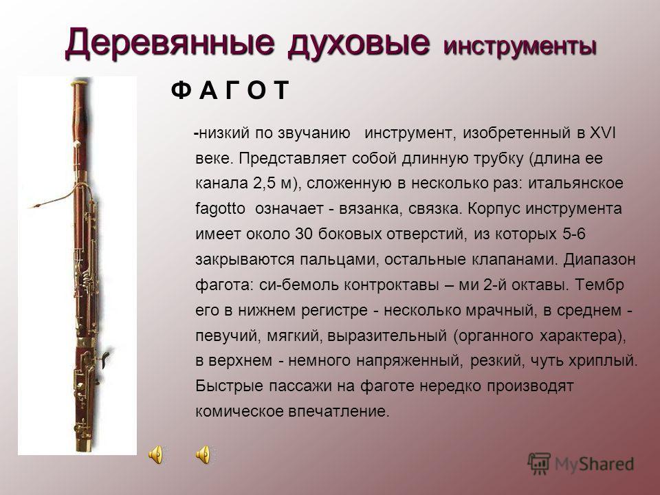 Деревянные духовые инструменты его «Предками» можно считать инструменты Древнего Египта. В современном виде кларнет появился в оркестре в середине XVIII века. Кларнет представляет собой деревянную трубку (длиной около 70 см) с небольшим раструбом. Во