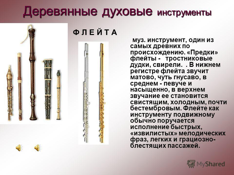 Деревянные духовые инструменты Флейта Гобой Английский рожок Кларнет Фагот
