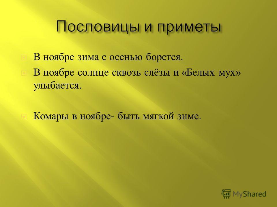 В ноябре зима с осенью борется. В ноябре солнце сквозь слёзы и « Белых мух » улыбается. Комары в ноябре - быть мягкой зиме.