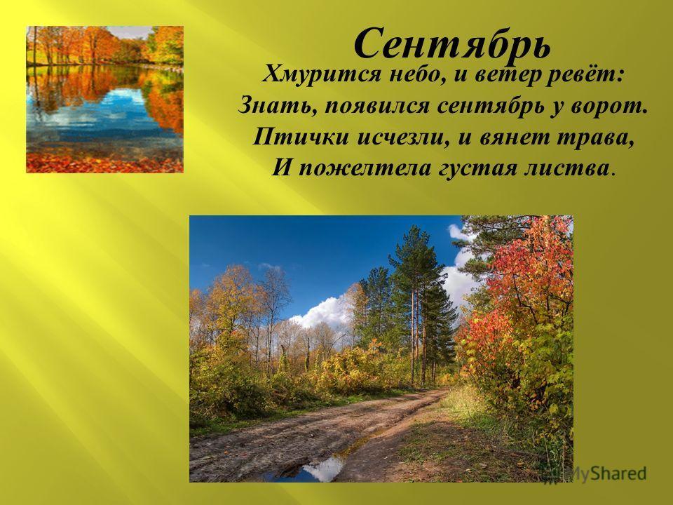 Хмурится небо, и ветер ревёт : Знать, появился сентябрь у ворот. Птички исчезли, и вянет трава, И пожелтела густая листва. Сентябрь
