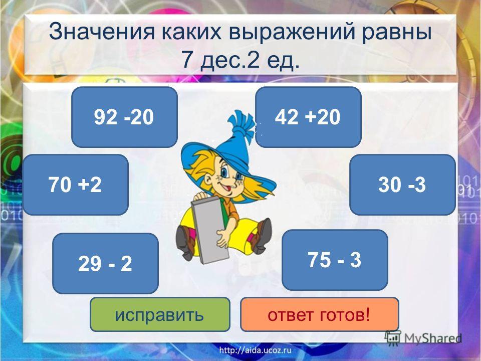 Значения каких выражений равны 7 дес.2 ед. 92 -20 75 - 3 70 +2 42 +20 30 -3 29 - 2 исправитьответ готов!