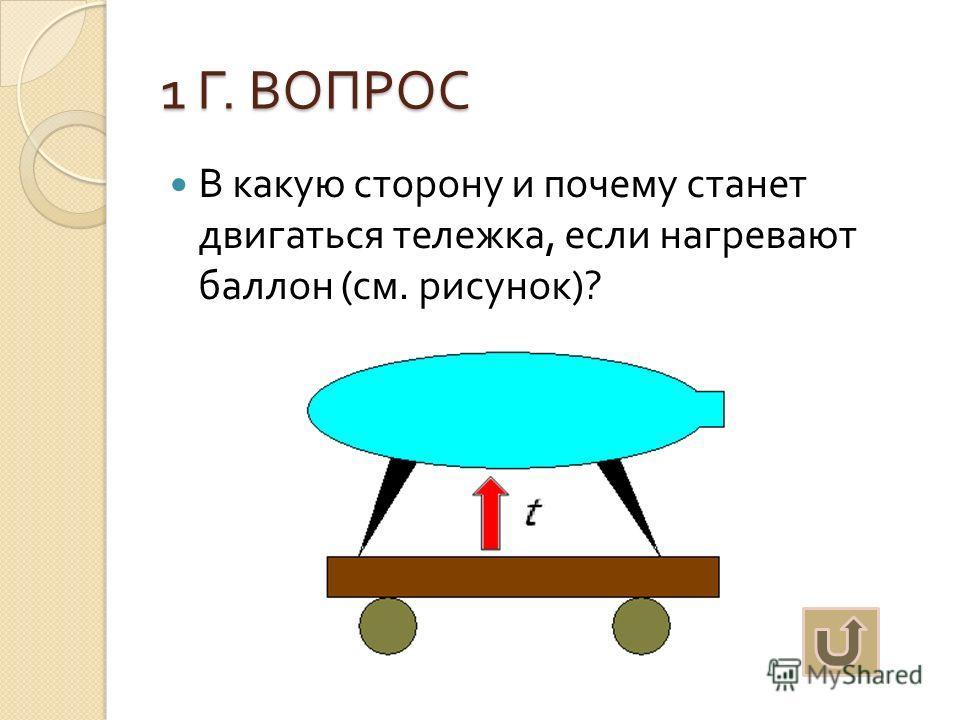 1 Г. ВОПРОС В какую сторону и почему станет двигаться тележка, если нагревают баллон ( см. рисунок )?