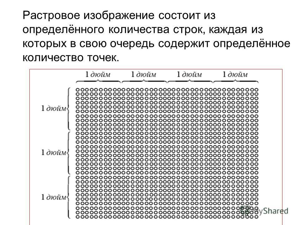 Растровое изображение состоит из определённого количества строк, каждая из которых в свою очередь содержит определённое количество точек.