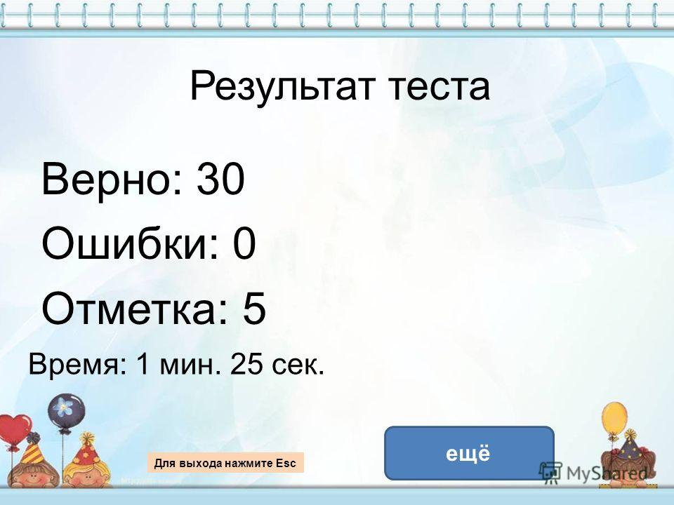 Результат теста Верно: 30 Ошибки: 0 Отметка: 5 Время: 1 мин. 25 сек. ещё Для выхода нажмите Esc