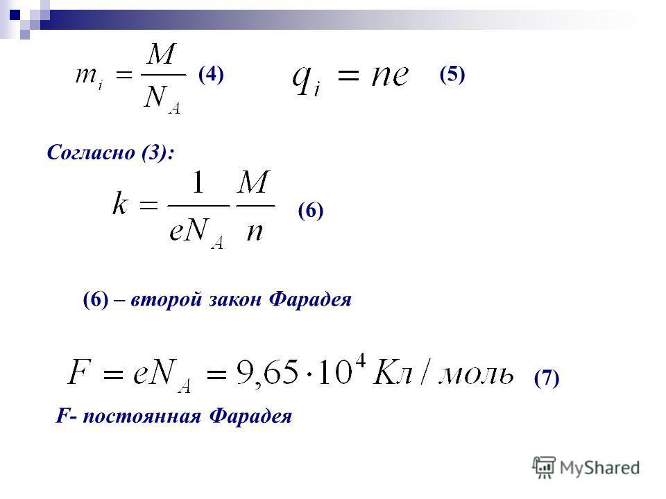 Согласно (3): (6) (6) – второй закон Фарадея (7) F- постоянная Фарадея (5)(4)