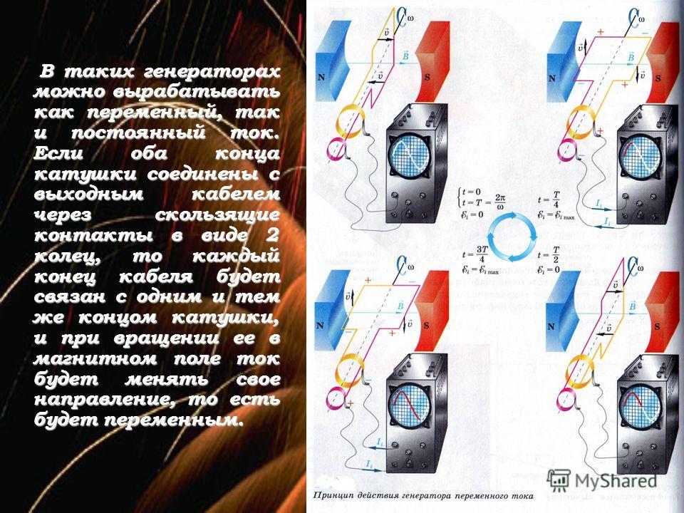 В таких генераторах можно вырабатывать как переменный, так и постоянный ток. Если оба конца катушки соединены с выходным кабелем через скользящие контакты в виде 2 колец, то каждый конец кабеля будет связан с одним и тем же концом катушки, и при вращ