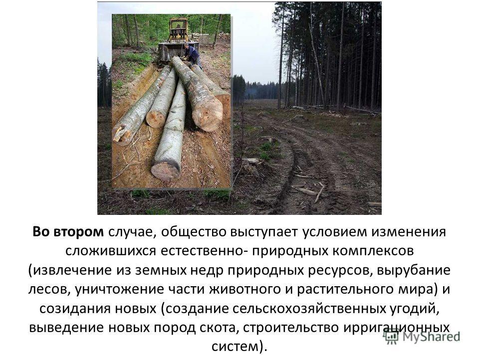 Во втором случае, общество выступает условием изменения сложившихся естественно- природных комплексов (извлечение из земных недр природных ресурсов, вырубание лесов, уничтожение части животного и растительного мира) и созидания новых (создание сельск